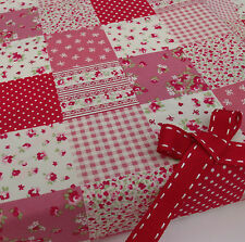 per half metre patchwork effect red & pink fabric shabby chic 100% cotton