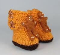 PRINTED INSTRUCTIONS-BABY GINGERBREAD MAN BOOTIES (BOOTEES) KNITTING PATTERN