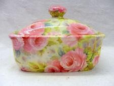 china pink rose butterdish by Heron Cross Pottery