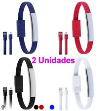 Pack 2 Unidades de Pulsera con cable Micro USB, uso en móvil, 22 x 1,2 x 0,8 cm