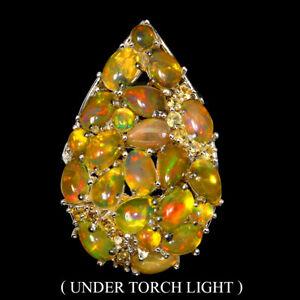 Unheated Oval Fire Opal 6x4mm Sapphire Diamond Cut 925 Sterling Silver Ring Sz 8