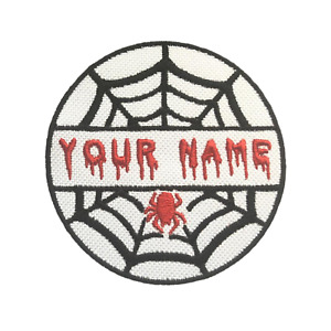 Personalised Halloween Spider Name Embroidered Iron On Patches Jacket Badge
