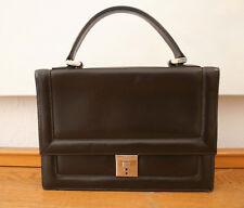 Goldpfeil Tasche, elegante Vintage Handtasche, Leder dunkelbraun, 100 % Original
