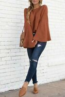 Long Sleeve Loose Women's Solid Tops Sweater T-shirt Fashion Casual Blouse
