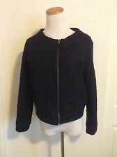 NWT Anthropologie Moth Boiled Wool Madeleine Lace Bomber Jacket, Size S
