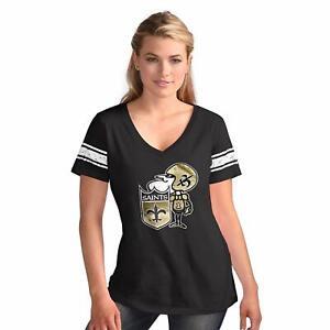 G-III 4her New Orleans Saints Women's Throwback Ballpark V-Neck T-Shirt - Black