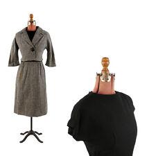 Vintage 60s Two Piece Crop Jacket + Dress Wool Knit B&W Salt and Pepper Set M