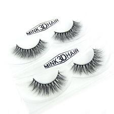 A15 Hot 2 Pairs 100% Siberian Mink Beauty Cross 3D False Eyelash Fake Eyelashes