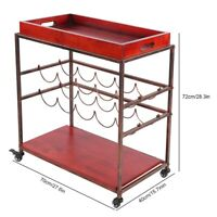 Vintage Industrial Serving Drinks Trolley Cart Wooden Shelf Wine Racks 2 Tier
