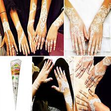 White Natural Temporary Tattoo kit Herbal Henna Cones Body Art Paint Mehandi Ink