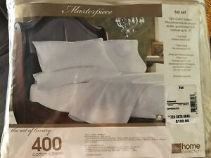 JCPenney Home Collection 400 Thread Ct.Cotton Sateen Silkwood Full Set Sheets