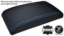 Blue Stitch en fibre de carbone vinyle ACCOUDOIR COUVERTURE s'adapte Subaru Impreza WRX STI 00-07
