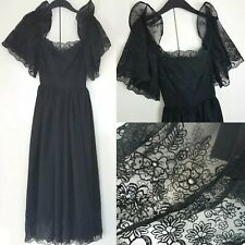 Vintage Gothic Black Victorian Style Lace Embroidered Floral Moon Detail Dress