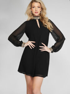 $198 Guess By Marciano Women's Leila Tunic Dress In Black Long Sleeves Size M