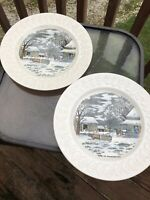 Home To Thanksgiving Plates Set of 2  Engravings For The People N. Currier