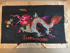 Vintage Silk Chinese Dragon Hand Embroidered Shanghai China 1940's Textile