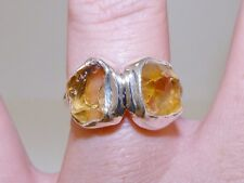 GENUINE! Brazilian Citrine Rough Cut Handmade Ring Solid Sterling Silver 925