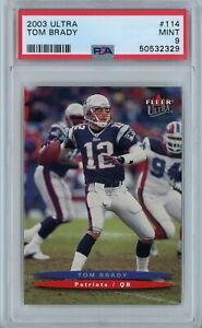 2003 Fleer Ultra 114 Tom Brady PSA Mint 9 New England Patriots QB POP 26