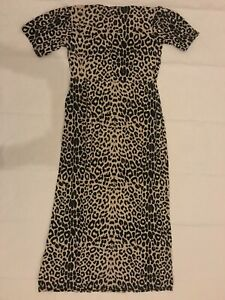 PrettyLittleThing BROWN LEOPARD PRINT RUCHED BUST SHORT SLEEVE MAXI DRESS UK 16