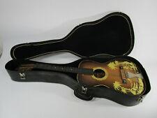Vintage Harmony Acoustic Guitar Flat Top Parlor Hawaiian Island Scene Hula Girl