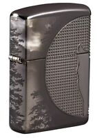 Zippo Wolf Design Armor Black Ice Windproof Pocket Lighter, 49353