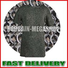Chain Mail Round Riveted with Flat Solid Ring Shirt & Coif Black Finish XL Size