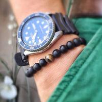 Charm Men Women 8MM Tiger Eye Matte Onyx Gemstone Power Stretch Beaded Bracelets