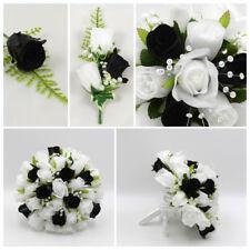 Silk Artificial Wedding Flowers Black & White Bouquet Posy Table Decoration