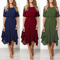 Womens Summer Swing Midi Dress Ladies Casual Evening Party Ruffle Long Dresses