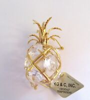 Figurine- PINEAPPLE- 24K gold plated- Austrian crystals- CLEAR
