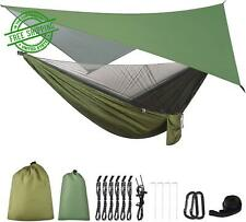 Camping Hammock Tent Army Green With Mosquito Net and Rainfly Tarp Tree Straps