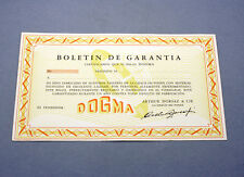 New old stock DOGMA guarantee warranty card paper 50/60s blank garantía NOS gold