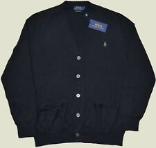 New Medium M POLO RALPH LAUREN Men button up down cotton cardigan sweater black
