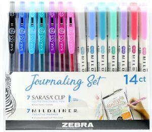 Zebra Pen 14-Pack Journaling Set Mildliner/Sarasa Clip Retractable Gel Ink Pens