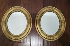 Antique Ornate Gold Painted Decorated Oval Frame Wall Mirror 2 pc