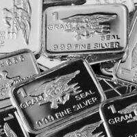 "1 Gram .999 Fine Solid Silver Bullion Art-Bar: ""UNITED STATES NAVY SEAL"""