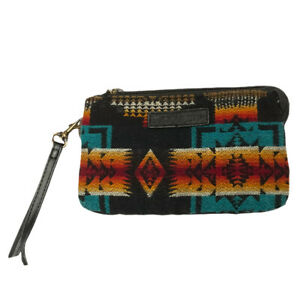 Pendleton Wool Clutch Southwestern 5 Pocket Zip Wallet Aztec Leather Trim