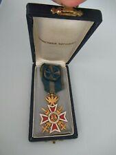 Romania Kingdom Crown Order Officer Grade W/ Swords. Type 2, Var. 1. Cased. Rr!