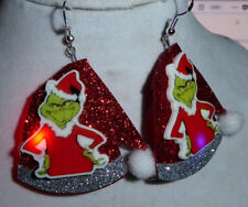 Unique BIG Ugly Sweater 925 Earrings Tacky SANTA HAT Blinking Grinch Christmas
