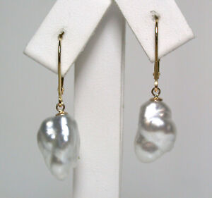 10x15mm AAA silver grey Tahitian saltwater keshi pearl & 18ct gold earrings