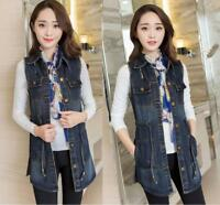 Womens Cowboy Vest Denim Jacket Slim Jeans Waistcoat Mid Long Sleeveless Coat WU