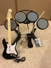 XBox 360 Rock Band 822149 Wired Drum Kit Set  + Guitar 822152, Mic & Game-Tested