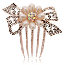 Bridal Wedding Hair Accessories White Rhinestone Cream Pearls Bow Comb HA114