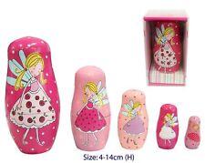 *NEW* WOODEN Pink Russian Babushka Fairy Nesting Dolls 5 pce