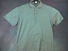 Peter Millar Men's Short Sleeve Blue/Orange Striped Polo Shirt Size Medium