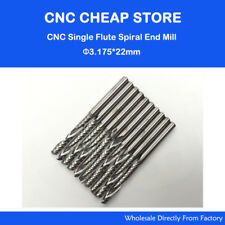 10x Carbide End Milling One Single Flute Spiral CNC Router Bits 1/8'' 3.175x22mm