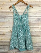 Free People Boho Turquoise floral lace up gypsy fit flare dress 4