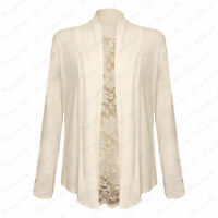 New Ladies Floral Lace Back Women's Plus Size Viscose Long Sleeve Cardigan 14-28