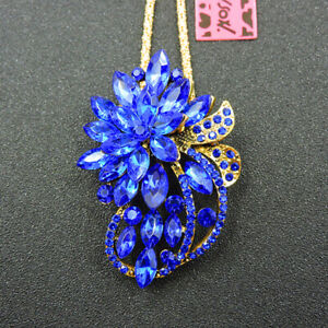 Betsey Johnson Rhinestone Blue Charm Flower Pendant Chain Necklace/Brooch
