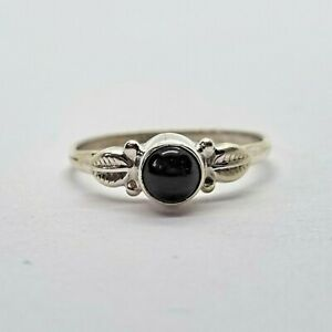 Brand New Sterling Silver 925 Onyx (Round) Ring, Size L 1/2